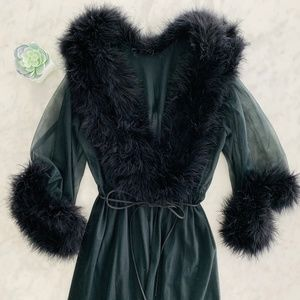 Marabou Robe Vintage Black 60's Sheer Glam Retro